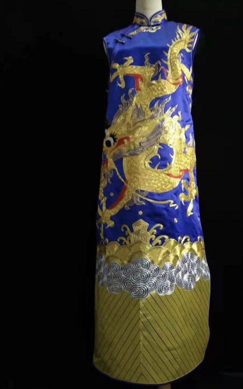 61101 Handmade embroidery Chinese Chi-pao( Cheongsam) blue
